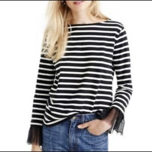 J. Crew Dotted Tulle Cuff Black & White Stripe Top